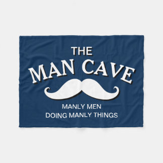 Customized Blue Funny Man Cave Sign Fleece Blanket