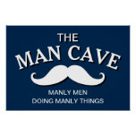 Customized Blue Funny Man Cave Sign Poster
