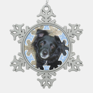 Customized Blue Snowflake Frame Keepsake Photo Snowflake Pewter Christmas Ornament
