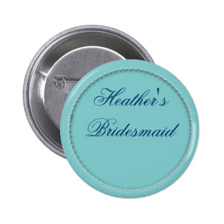 Customized bridesmaid buttons in light blue