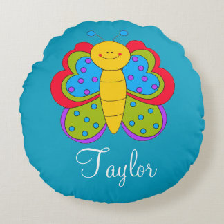 CUSTOMIZED BUTTERFLY BABY NURSERY ROUND PILLOW