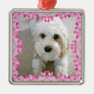 Customized Cavachon Photo Ornament, Customized Dog Metal Ornament