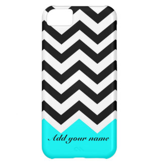 Customized Chevron Black turquoise with name iPhone 5C Case