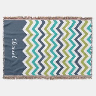 Customized Chevron Navy Lime Turquoise Throw Blanket