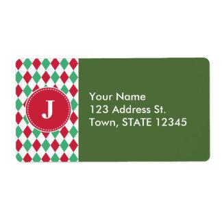 Customized Christmas Checker Pattern Shipping Label