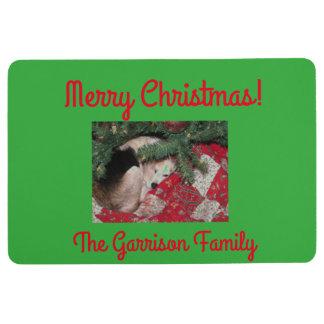 Customized Christmas Mat with Sleepy Beagle