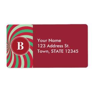 Customized Christmas Spiral Pattern Shipping Label