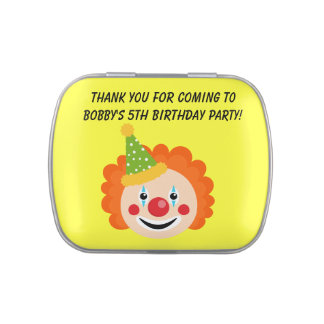 Customized Clown Birthday Candy Tins and Jars
