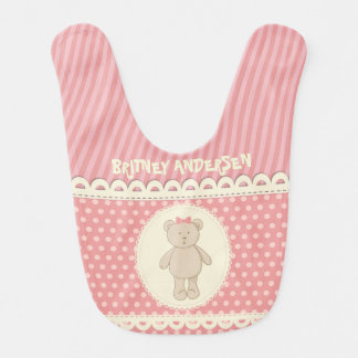 Customized Country Pink Berry Teddy Bear Bib