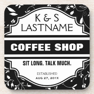 Customized Couple Coffee Shop Sign Coaster