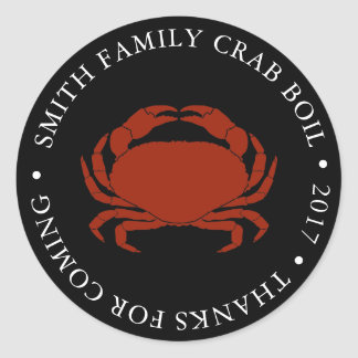 Customized Crab Boil Event Black Classic Round Sticker