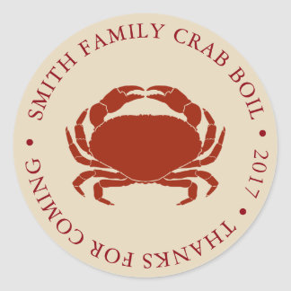 Customized Crab Boil Event Classic Round Sticker