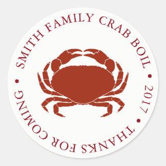 Customized Crab Boil Event White Classic Round Sticker
