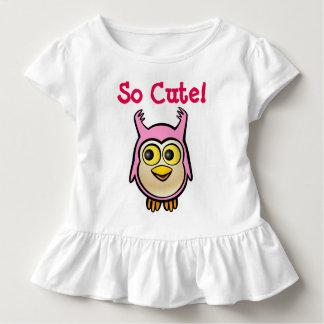 Customized Cute Pink Baby Owl Cartoon Toddler T-shirt
