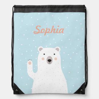 Customized Cute Polar Bear in the Snow Backpacks