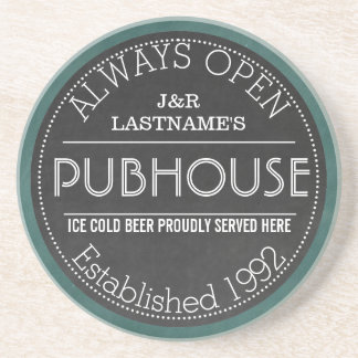 Customized Faux Chalkboard Pub Sign Coaster