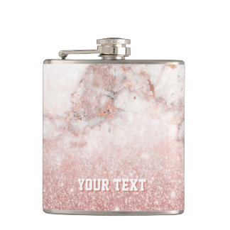 Customized Faux Rose Gold Glitter White Marble Hip Flask