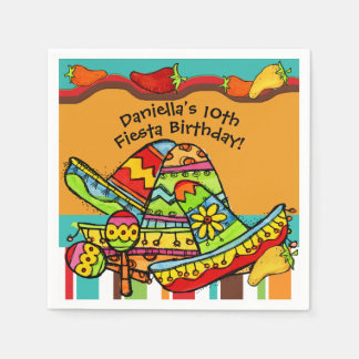 Customized Fiesta Birthday Paper Napkins