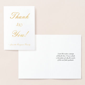 "Customized Gold Foil ""Thank You!"" Card"