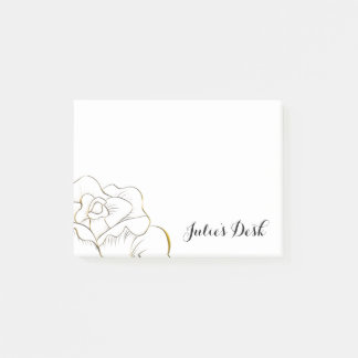 Customized Gold Rose Post-it Notes