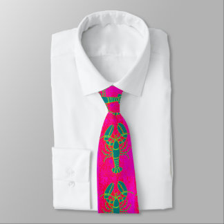 Customized green lobster pink tie