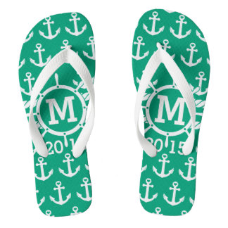 Customized Green Nautical Anchors Pattern Flip Flops
