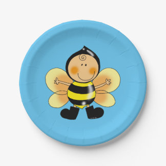 Customized happy birthday bumble bee kids party paper plate