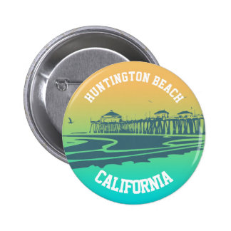 Customized Huntington Beach Pier Illustration 2 Inch Round Button