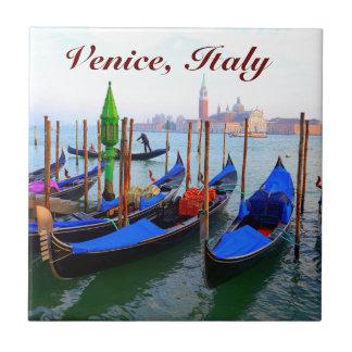 Customized Image of Gondolas in Venice Ceramic Tiles