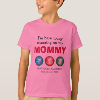 Customized Kids Cheering on Mommy Race Day Shirt