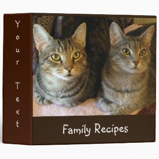 Customized Kitty Tabby Cat Recipes Vinyl Binders