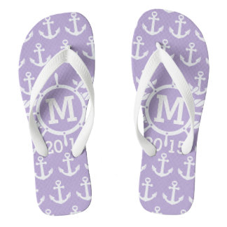 Customized Lavender Nautical Anchors Pattern Flip Flops