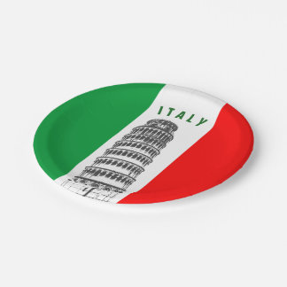 Customized Leaning Tower of Pisa and Italian Flag 7 Inch Paper Plate