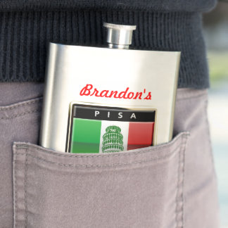 Customized Leaning Tower of Pisa and Italian Flag Flasks