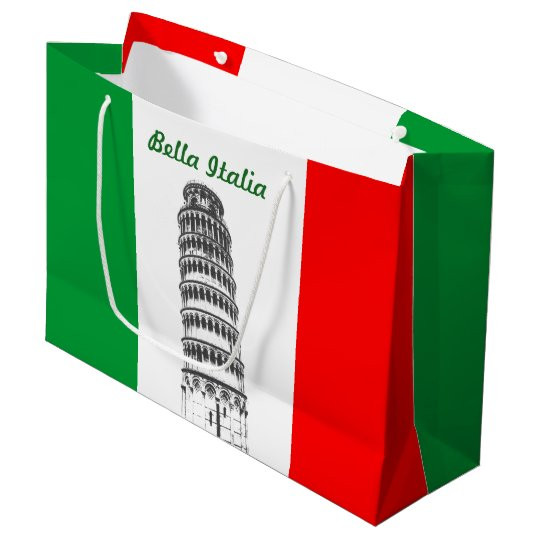 Customized Leaning Tower of Pisa and Italian Flag Large Gift Bag