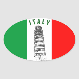 Customized Leaning Tower of Pisa and Italian Flag Oval Sticker