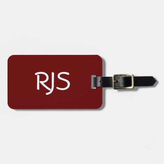 Customized Luggage Tag, Monogram, Maroon & White Luggage Tag