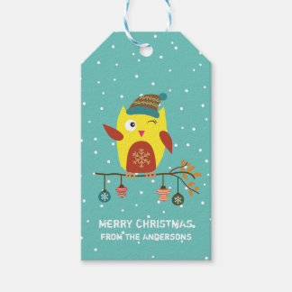 """Customized """"Merry Christmas"""" Cute Christmas Owl Pack Of Gift Tags"""