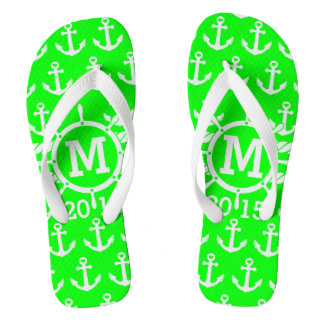 Customized Neon Green Nautical Anchors Pattern Flip Flops