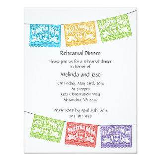 Customized Papel Picado Love Birds Rehearsal Card