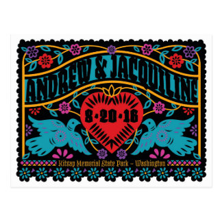 Customized Papel Picado Style Lovebirds Postcard