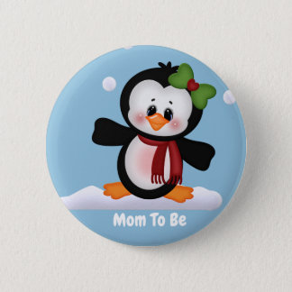 Customized Penguin Mom to Be Baby Shower Button
