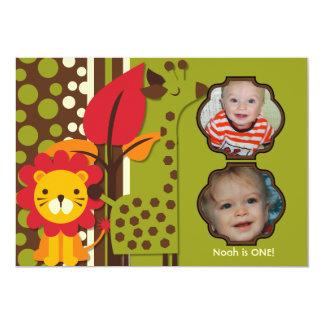 "Customized Photo Zoo Animals Birthday Invitation 5"" X 7"" Invitation Card"