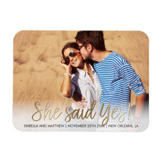 Customized Photography | Bronze She Said Yes! Rectangular Photo Magnet