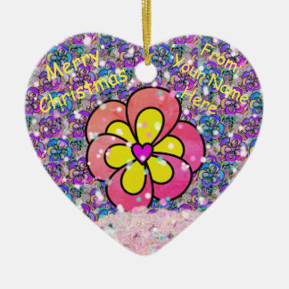 Customized Pink Flower Heart Christmas Ornament