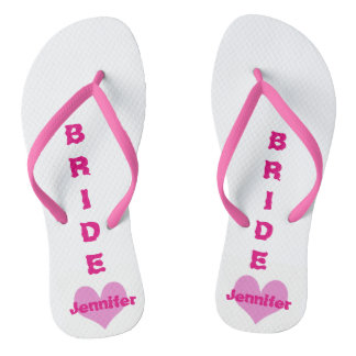 Customized Pink Heart Bride Flip Flops