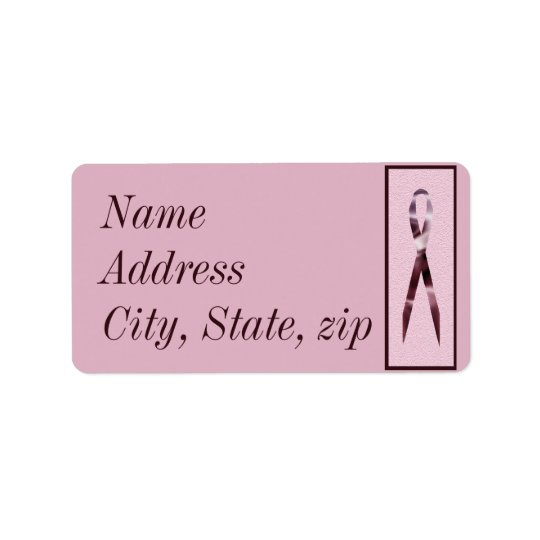 Customized Pink Ribbon Address Label