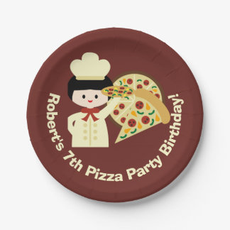 Customized Pizza Party Happy Birthday Paper Plates