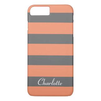 Customized Pretty Grey Coral Stripes iPhone 7 Plus Case