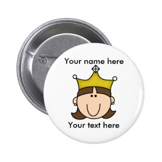 CUSTOMIZED PRINCESS BROWN 2 INCH ROUND BUTTON